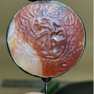 Antique Agate stone seal Writing stone Silver Roman pendant  # 125