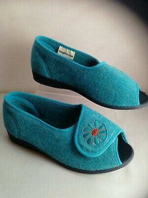 Ladies Cosyfeet Slipper Sandals Size 6 extra roomy Blue