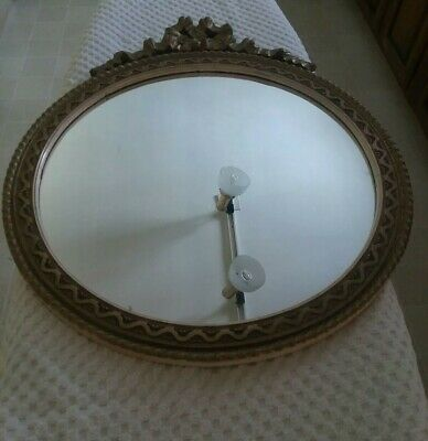 """Antique Vintage Ornate Decorative Wall Mirror Wood Painted Gold  22"""" Tall"""