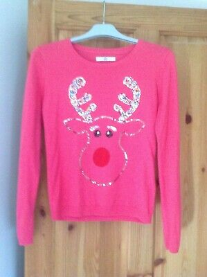 Girls Pink Christmas Jumper from Marks & Spencer, Age 12-13 years