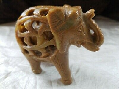 Stone Elephant Figurine Hand Carved Baby Inside Collectible Decorative India