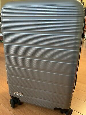 Used Once eBags Fortis Pro USB Carry-On Spinner Suitcase 22 Silver Gray Luggage