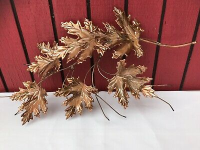 Vintage MCM Brass/Copper Metal Maple Leaf Branch Wall Hanging Art Sculpture