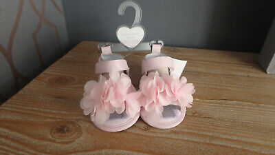 ** BNWT Cute Baby Girl Pink Floral Sandals - Primark (0 - 3 months) **