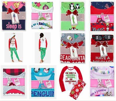 Justice Girls 2-Piece Pajama Set Choose Unicorn Rainbow Christmas Penguin Santa