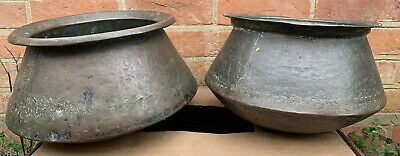 Pair Antique Vintage Hand Beaten Copper Brass Plant Pots Planters Eastern