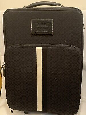 COACH BLACK SIGNATURE C,s UPRIGHT ROLLER CARRY ON SUIT CASE LUGGAGE  EXCELLENT