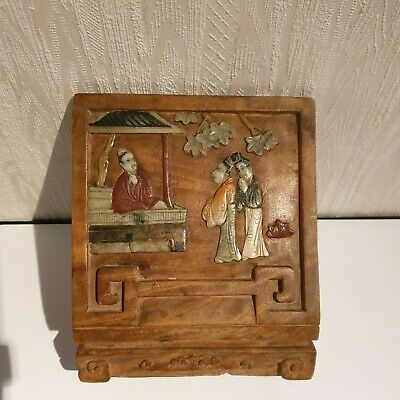 Antique Chinese Carved Wood with Jade Figures
