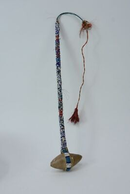 """Plains Beaded Club with beaded handle with horsehair loop; c. 1890 16 1/2"""" + 16"""""""