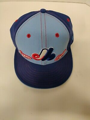New Era 59Fifty Montreal Expos Fitted Hat Retro Logo Blue High Arch MLB Cap Size