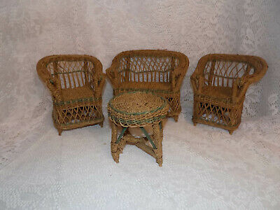 Vintage Wicker Green Trim German French Doll Furniture Couch Chair Table