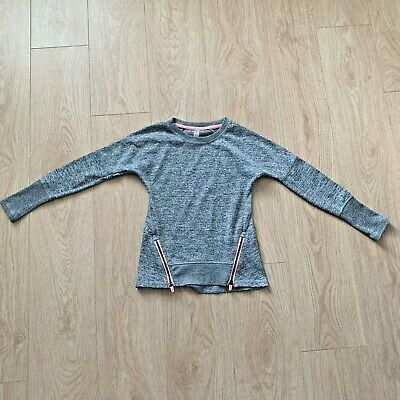 90 degree by reflex girls sports top Grey marl with pink accent zips VGC