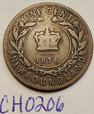 1876H  Newfoundland Canada Large One Cent Penny VICTORIA  CH0206