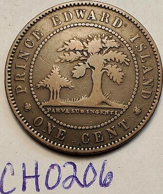 1871  Prince Edward Island Canada Large One Cent Penny VICTORIA  CH0206