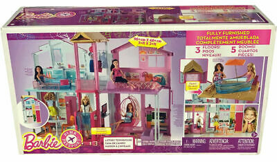 NEW IN BOX Barbie Pink Dollhouse HOUSE Passport 3 Story Townhouse Toys FURNISHED