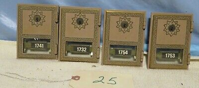 Lot Of 4 Vintage Solid Brass Post Office Box Doors