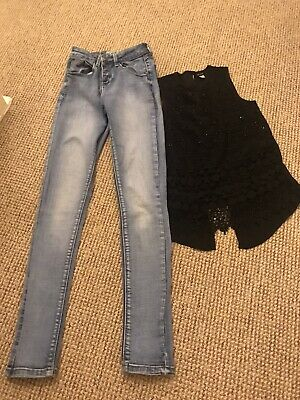Girls River Island/ New Look bundle age 10-13 2 Items High Waisted Jeans & Top
