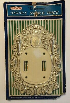 Vintage Double Light Switch Plate Cover New Ivory Gold Victorian By Nevco B8