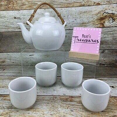 Pier 1 One White Porcelain Japanese Teapot Wooden Bamboo Handle With 4 Cups Set
