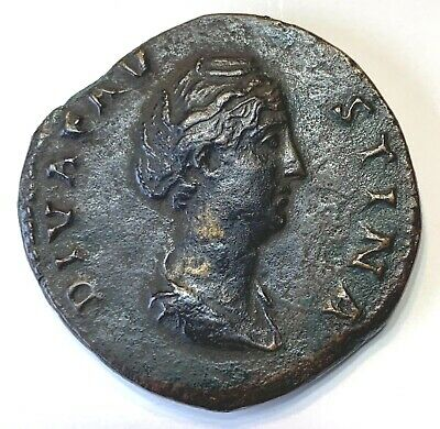 Ancient Roman Bronze Sestertius; Diva Faustina; After 141 Ad; Very Nice Coin!