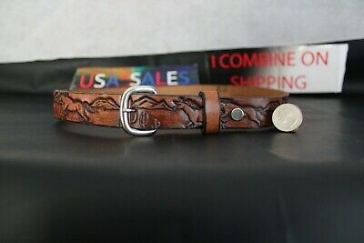 "Wild Running Horses  ""JACK"" Vintage Boy's Leather Belt Tooled Western U.S.A."
