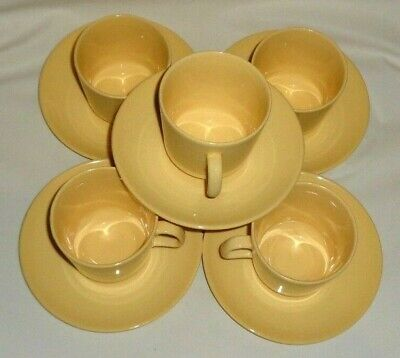 Vintage Johnson of Australia Retro Pastel Yellow Duo's High Tea Cups & Saucers