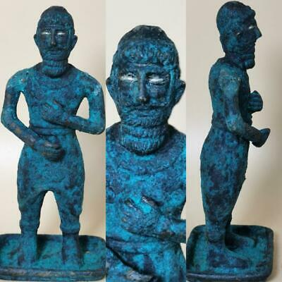 Ancient Bronze wonderful Rare King Statue silver eyes Circa 100 BC  # 126