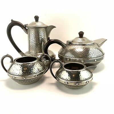 Arts & Crafts Style Craftsman Sheffield Hammered Pewter Bakelite Tea Coffee Set