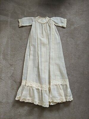 Antique Vintage Victorian Christening Baptism Gown Lace Baby Doll Dress Sheer