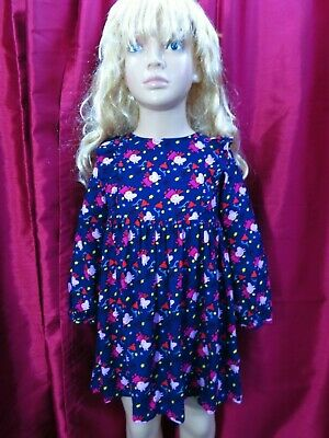 M&S Girls Navy pattern Peppa Pig long sleeve cotton dress Age 4-5 years NWT