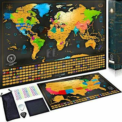 Scratch Off Map of the World + USA Map - Set of Two Deluxe Gold Scratch-Off