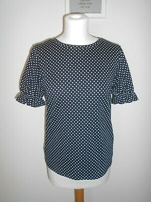 RED HERRING Ladies Blouse Top Size 10 Black White Spotty Short Gathered Sleeves