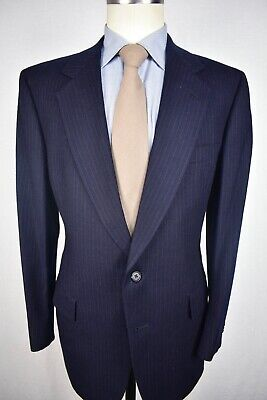Hart Schaffner Marx Blue Pinstripe Flannel Wool Two Button Two Pc Suit Size: 40R