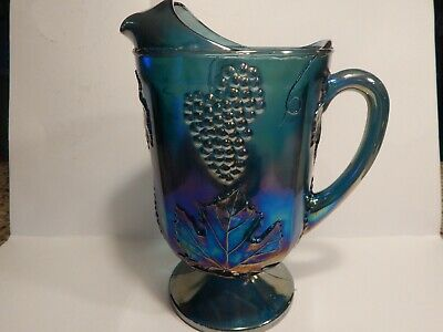 Vintage Blue Carnival Glass HARVEST GRAPE Indiana Iridescent Glass Pitcher 64oz