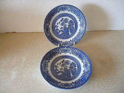 2 X English Ironstone Tableware Ltd Pottery Saucers Old Willow Made In England