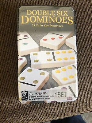 Cardinal Classic Double Six Coloured Dots Dominoes w/Tin Case Family/Kids Game