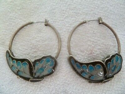 Antique Chinese Export Sterling Silver Cloisonné Enamel BUTTERFLY Hoop Earrings