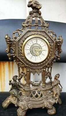 Antique Heavy Brass Table West Germany Mantle Clock 40*25 cm