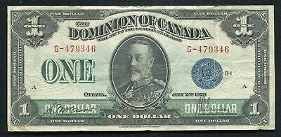 1923 $1 One Dollar Dominion Of Canada Banknote Blue Seal Very Fine