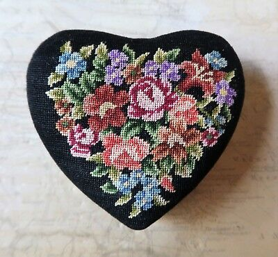 Vintage 1970s Hand Emboidered Petit Point Heart Shaped Trinket Box