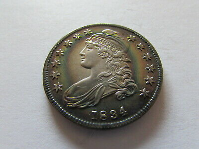 1834 Capped Bust Half Dollar Fifty Cent US Silver Coin Gorgeous Color Toning 50c