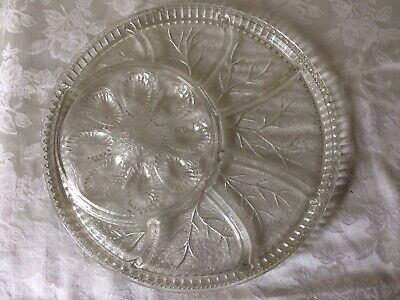 """Indiana Clear Glass  Egg and  Hors d'oeuvres 13"""" Round Divided Dish/Tray/Platter"""