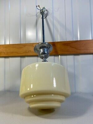 Australian 1930s Art Deco Cream Milk Glass Stepped Light Shade Chrome Fitting