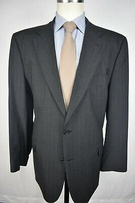 Jos. A. Bank Gray Pinstripe 100% Worsted Wool Two Button Two Piece Suit Sz: 46L