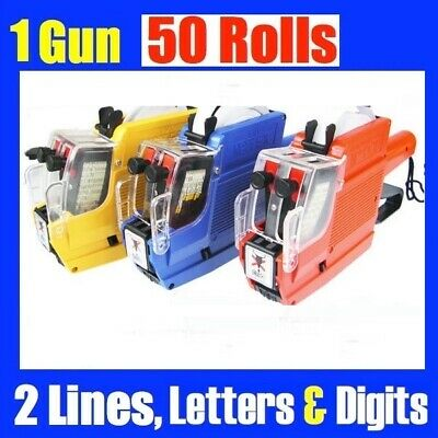 1x Alphanumeric Tag Price Gun Labeller + 50 Rolls 2 Line 10 Letters 10 Numbers