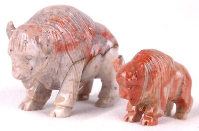 "2 Carved Stone Bison Buffalo Figures- 2.5"" Long & 1.5"" Long-Granite"