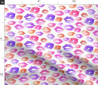 Watercolor Kisses Lips Decor Greenmountain Fabric Printed by Spoonflower BTY