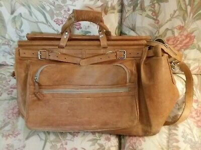 Vintage Extra Large Leather Satchel Carpet Bag Carry-On Duffle Handles Lined