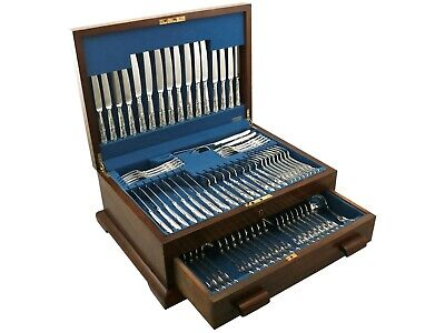 Vintage Sterling Silver Canteen of Cutlery for Eight Persons