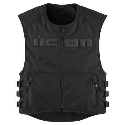 Icon Brigand Motorcycle Motorbike Textile Vest Stealth Black